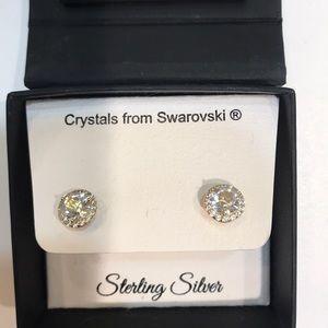 Large sterling silver Swarovski crystal earrings